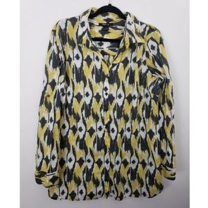 Style & Co Geometric Button Long Sleeve Blouse